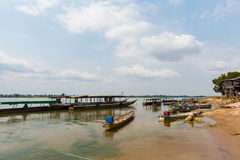 Boats on Mekhong Don Det. Boats on Don Det island in south Laos. Landscape of nature taken on four thousands islands Si Phan Don on Mekhong river in south east stock photography