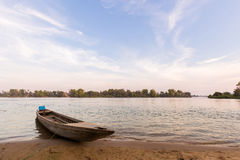 Boats on Mekhong Don Det. Boats on Don Det island in south Laos. Landscape of nature taken on four thousands islands Si Phan Don on Mekhong river in south east royalty free stock image
