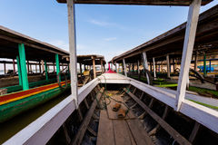 Boats on Mekhong Don Det. Boats on Don Det island in south Laos. Landscape of nature taken on four thousands islands Si Phan Don on Mekhong river in south east stock photo