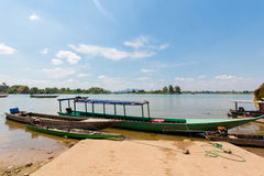 Boats on Mekhong Don Det. Boats on Don Det island in south Laos. Landscape of nature taken on four thousands islands Si Phan Don on Mekhong river in south east stock image