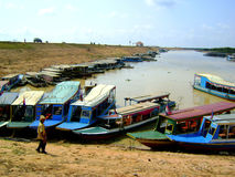 Boats by the Mekong. Delta river royalty free stock photography
