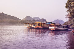 Boats On The Mekong River Royalty Free Stock Photos