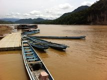 Boats in mekong river of Laos Stock Photos