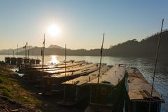 Boats on the Mekong river, Luang Prabang Stock Photo