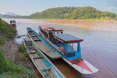 Boats at the Mekong River, Luang Prabang Stock Image