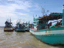 Boats at Mekong river Royalty Free Stock Photo