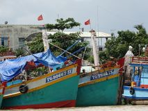 Boats on Mekong river, Vietnam countryside, Mekong Delta Stock Photos