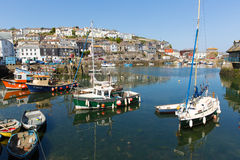 Boats Mevagissey harbour Cornwall England Stock Images