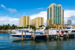 Boats in Miami Beach Marina Stock Photo