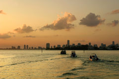Boats in Miami at sunset Stock Image