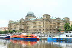 Boats and Ministery of Transportation in Prague Stock Image
