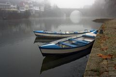 Boats in the mist Royalty Free Stock Photo