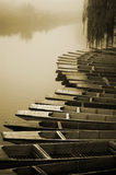 Boats, Misty Morning. Boats on the River Cam, Cambridge, England Royalty Free Stock Images
