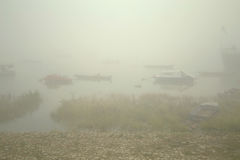 The boats in the misty morning. Danube river Belgrade boats foggy Royalty Free Stock Photography