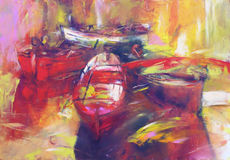 Boats ,modern  handmade paintings. Boats ,modern  handmade oil painting on canvas Royalty Free Stock Photos