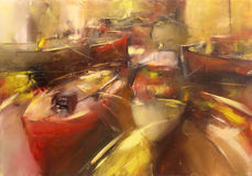 Boats ,modern  handmade paintings. Boats ,modern  handmade oil painting on canvas Royalty Free Stock Image