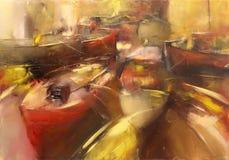 Boats ,modern  handmade paintings Royalty Free Stock Image