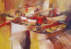 Boats ,modern  handmade paintings. Boats ,modern  handmade oil painting on canvas Royalty Free Stock Photo
