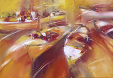 Boats ,modern  handmade paintings. Boats ,modern  handmade oil painting on canvas Royalty Free Stock Photography