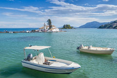 Boats and monastery of Panagia Vlahernon Stock Photography