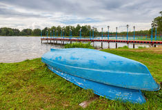 Boats at the monastery pier on Lake Valday, Russia Stock Photography