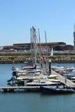 Boats on Mondego river marina Stock Images