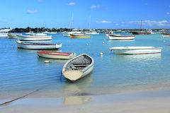 Boats at moor, Grand Bay, Mauritius Stock Photo
