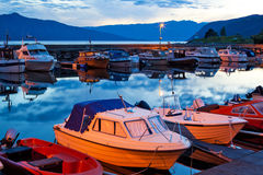 Boats on a moorage Royalty Free Stock Photos