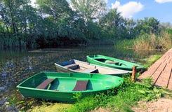 Boats on moorage Stock Photos
