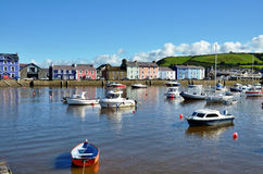 Boats moored in Aberaeron harbour, Wales. Royalty Free Stock Images