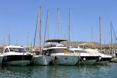 Boats moored in Alcudia harbor Stock Image