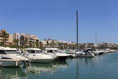 Boats moored in Alcudia harbor Royalty Free Stock Images