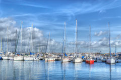 Boats moored in Alghero harbor in hdr Royalty Free Stock Photos