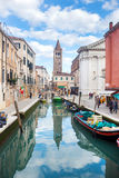 Boats moored along water canal in Venice Royalty Free Stock Photos
