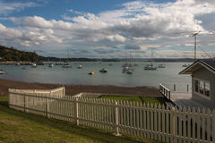 Boats moored in Bay of Islands Stock Photography