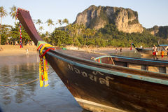 Boats moored on the beach at Ao Nang, Thailand Stock Images