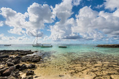 Boats moored at the Blue Bay Marine Park, Mauritius Stock Photography