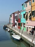 Boats moored in Burano, Venice, Italy. Royalty Free Stock Images