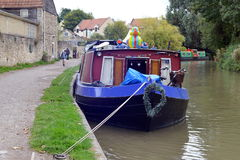 Boats Moored on a Canal Stock Photo