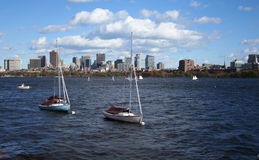 Boats moored in Charles River Stock Photography