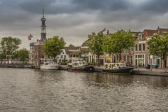 Boats moored in the city of Alkmaar. netherlands holland royalty free stock photography