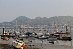 Boats moored in the Conwy harbour in northern Wales, UK Royalty Free Stock Photography
