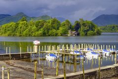 Boats moored in Derwent Water Stock Image