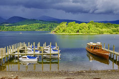 Boats moored on Derwent water Stock Image