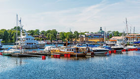 Boats moored at the Djurgarden Island. Stock Images