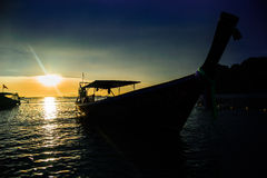 Boats moored at dock. The long-tailed boat that moored at the dock royalty free stock photo