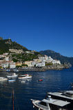 Boats Moored and Docked in Amalfi Harbor Stock Photos