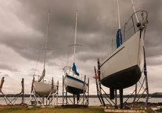 Boats moored in dry dock. In Devonport, New Zealand Stock Image