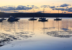 Boats moored at dusk Stock Image