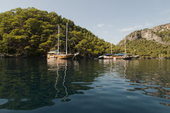 Boats moored in Fethiye Bay Stock Images